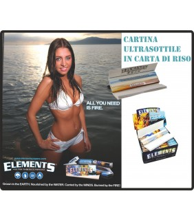 Cartine carta di riso ultra thin ELEMENTS Lunghe +filtri Slim King Size Box 24pz